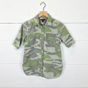 J. Crew Half Sleeve Camo Button Down Size 2
